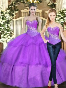 Admirable Eggplant Purple Sweetheart Lace Up Beading and Ruffled Layers Vestidos de Quinceanera Sleeveless
