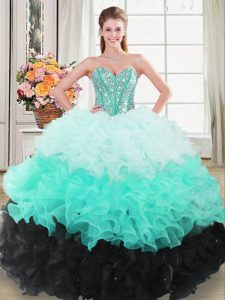Discount Sleeveless Lace Up Floor Length Beading and Ruffled Layers Quinceanera Gown