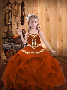 Rust Red Straps Neckline Embroidery and Ruffles Kids Pageant Dress Sleeveless Lace Up