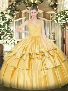Glittering Gold Sleeveless Taffeta Zipper Quinceanera Dress for Military Ball and Sweet 16 and Quinceanera