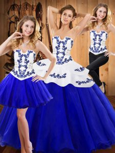 Sleeveless Tulle Floor Length Lace Up Quinceanera Dress in Royal Blue with Embroidery