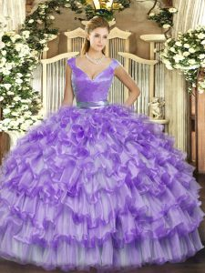 New Style Lavender Organza Zipper Quinceanera Gown Sleeveless Floor Length Ruffled Layers