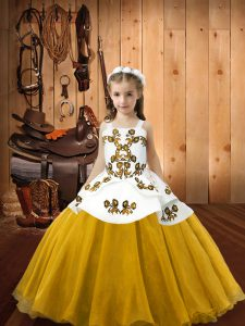 Gold Ball Gowns Straps Sleeveless Organza Floor Length Lace Up Embroidery Little Girl Pageant Gowns