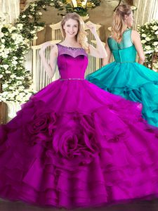 Attractive Fuchsia Organza Zipper Scoop Sleeveless Floor Length Ball Gown Prom Dress Beading and Ruffled Layers