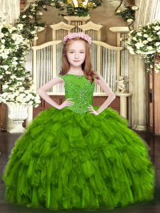 Green Kids Pageant Dress Party and Quinceanera with Beading and Ruffles Scoop Sleeveless Zipper