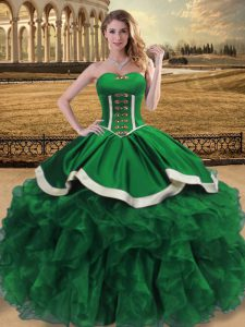 Green Ball Gowns Organza Sweetheart Sleeveless Beading and Ruffles Floor Length Lace Up Ball Gown Prom Dress