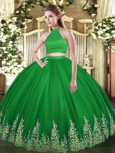 Sleeveless Backless Floor Length Beading and Appliques Quinceanera Dress