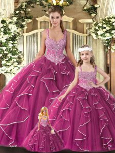 Enchanting Tulle Sleeveless Floor Length Quinceanera Gown and Beading and Ruffles