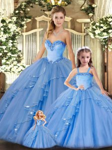 Noble Floor Length Lace Up Quinceanera Dresses Baby Blue for Military Ball and Sweet 16 and Quinceanera with Beading and Ruffles