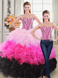 Discount Multi-color Organza Lace Up Quinceanera Gown Sleeveless Floor Length Beading and Ruffles
