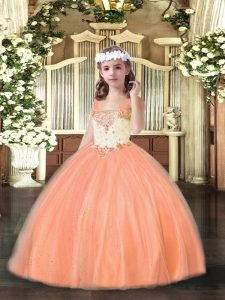 Custom Made Orange Red Sleeveless Beading Floor Length Child Pageant Dress