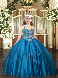 Blue Ball Gowns Beading Little Girls Pageant Gowns Lace Up Satin Sleeveless Floor Length