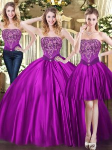 Edgy Sweetheart Sleeveless Tulle Sweet 16 Quinceanera Dress Beading Lace Up