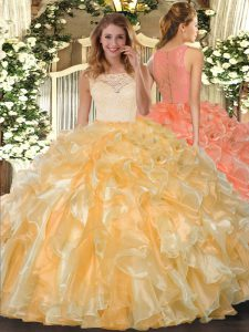 Nice Ball Gowns Sweet 16 Quinceanera Dress Gold Scoop Organza Sleeveless Floor Length Clasp Handle