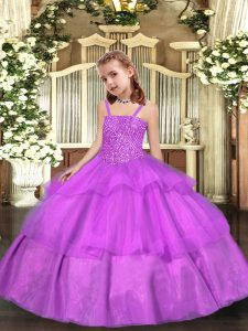Sleeveless Lace Up Floor Length Beading and Ruffled Layers Pageant Dress