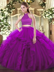 Discount Halter Top Sleeveless Backless Quinceanera Gown Purple Tulle