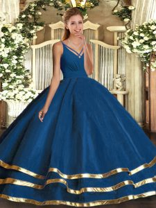 V-neck Sleeveless Backless Quinceanera Gowns Blue Tulle