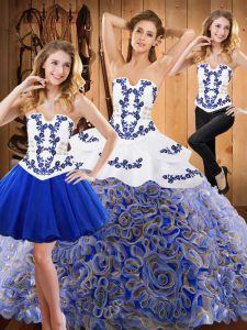 Glamorous Multi-color Three Pieces Strapless Sleeveless Satin and Fabric With Rolling Flowers With Train Sweep Train Lace Up Embroidery Quinceanera Gown