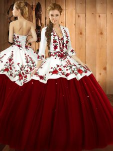 Flirting Wine Red Sleeveless Satin and Tulle Lace Up Quinceanera Dresses for Military Ball and Sweet 16 and Quinceanera