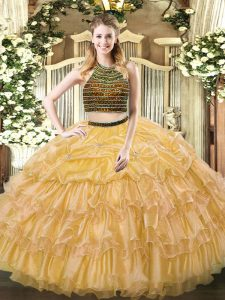 Comfortable Organza Halter Top Sleeveless Zipper Beading and Ruffled Layers Quinceanera Gown in Gold