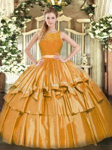 Gorgeous Gold Scoop Zipper Ruffled Layers Ball Gown Prom Dress Sleeveless
