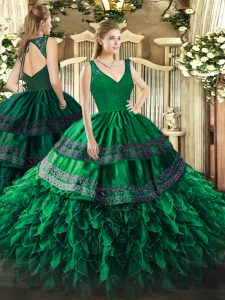 Dark Green Backless V-neck Beading and Lace and Ruffles Quinceanera Dresses Organza Sleeveless