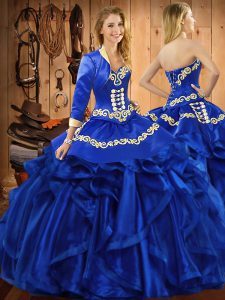 Sweetheart Sleeveless Lace Up Quinceanera Gown Royal Blue Organza