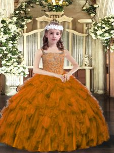 Sleeveless Organza Floor Length Lace Up Pageant Dress for Teens in Brown with Beading and Ruffles