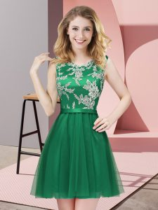 Custom Design A-line Court Dresses for Sweet 16 Dark Green Scoop Tulle Sleeveless Mini Length Side Zipper