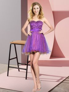 Mini Length Multi-color Damas Dress Tulle Sleeveless Beading and Sequins