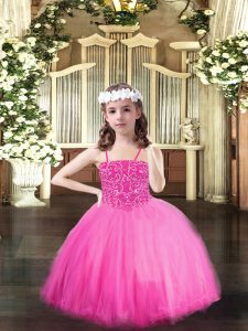 Rose Pink Lace Up Girls Pageant Dresses Beading Sleeveless Floor Length