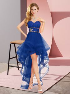 Captivating Royal Blue Tulle Lace Up Quinceanera Court Dresses Sleeveless High Low Beading