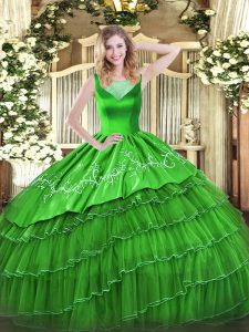 Glittering Green Organza Side Zipper Sweet 16 Dresses Sleeveless Floor Length Beading and Embroidery