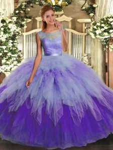 Trendy Ball Gowns Quinceanera Dress Multi-color Scoop Organza Sleeveless Floor Length Backless