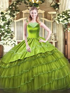Exquisite Floor Length Side Zipper Quinceanera Gowns Olive Green for Sweet 16 and Quinceanera with Beading and Embroidery