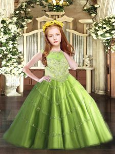Sleeveless Tulle Floor Length Zipper Little Girls Pageant Dress Wholesale in with Beading and Appliques