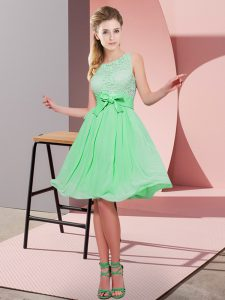 Apple Green Side Zipper Scoop Lace and Bowknot Quinceanera Court of Honor Dress Chiffon Sleeveless