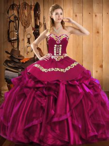 Fancy Sweetheart Sleeveless Quince Ball Gowns Floor Length Embroidery and Ruffles Fuchsia Satin and Organza