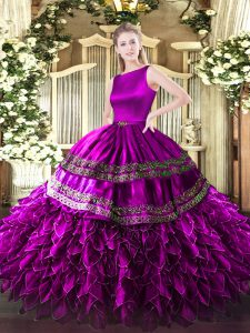 Captivating Sleeveless Satin and Organza Floor Length Clasp Handle Quinceanera Gown in Fuchsia with Ruffles