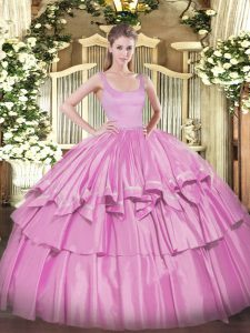 Lilac Organza and Taffeta Zipper Straps Sleeveless Floor Length 15 Quinceanera Dress Beading and Ruffled Layers
