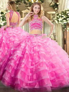Rose Pink 15 Quinceanera Dress Military Ball and Sweet 16 and Quinceanera with Beading and Ruffled Layers High-neck Sleeveless Backless