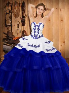 Gorgeous Embroidery and Ruffled Layers 15 Quinceanera Dress Royal Blue Lace Up Sleeveless Sweep Train