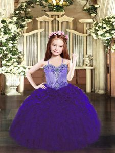Latest Spaghetti Straps Sleeveless Pageant Gowns For Girls Floor Length Beading and Ruffles Purple Organza
