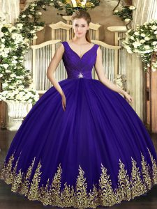 Excellent Purple Ball Gowns V-neck Sleeveless Tulle Floor Length Backless Beading and Appliques Quinceanera Gowns