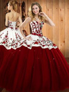 Sweetheart Sleeveless 15 Quinceanera Dress Floor Length Embroidery Wine Red Satin and Tulle