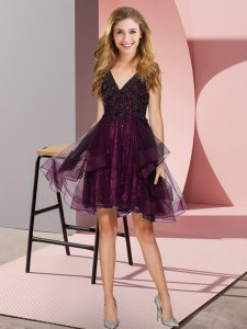 Fashionable Burgundy A-line Tulle V-neck Sleeveless Appliques and Ruffles Knee Length Backless Damas Dress