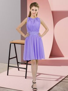Lavender Zipper Scoop Sequins Dama Dress for Quinceanera Chiffon Sleeveless