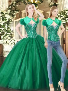 Colorful Sweetheart Sleeveless 15 Quinceanera Dress Floor Length Beading Teal Fabric With Rolling Flowers
