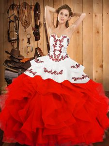 Edgy White And Red Satin and Organza Lace Up Ball Gown Prom Dress Sleeveless Floor Length Embroidery and Ruffles