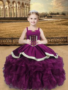 Customized Purple Lace Up Little Girls Pageant Dress Wholesale Beading and Ruffles Sleeveless Floor Length